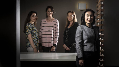 UOW researchers Mona Nikidehaghani, Corinne Cortese, Kellie McCombie and Dr Freda Hui have found social isolation and poverty are among the barriers to involvement in the NDIS. Picture: Paul Jones
