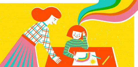 abstract image of teacher and child