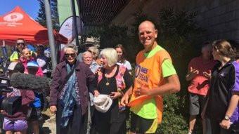Dane in hi-vis vest after his run