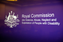 Commonwealth Government logo + words: Royal Commission into violence, abuse, neglect and expoitation of people with disability